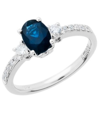 Rings - 1.35 Carat Oval Cut Sapphire and Diamond Ring 14Kt White Gold