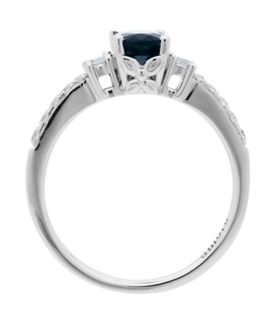 1.35 Carat Oval Cut Sapphire and Diamond Ring 14Kt White Gold
