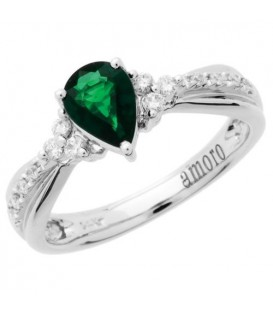 Rings - 0.53 Carat Pear Shaped Emerald and Diamond Ring 14Kt White Gold