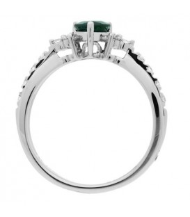 0.69 Carat Pear Shaped Emerald and Diamond Ring 14Kt White Gold