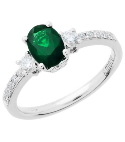 Rings - 1.01 Carat Oval Cut Emerald and Diamond Ring 14Kt White Gold