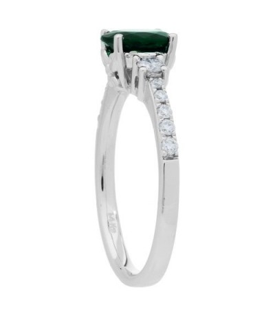 1.01 Carat Oval Cut Emerald and Diamond Ring 14Kt White Gold