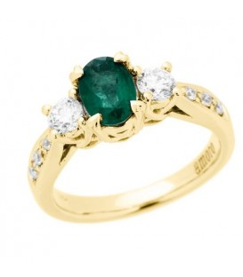Rings - 1.28 Carat Oval Cut Emerald and Diamond Ring 18Kt Yellow Gold