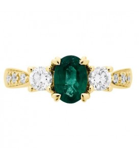 1.28 Carat Oval Cut Emerald and Diamond Ring 18Kt Yellow Gold