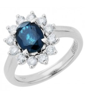 Rings - 2.25 Carat Oval Cut Sapphire and Diamond Engagement Ring 18Kt White Gold
