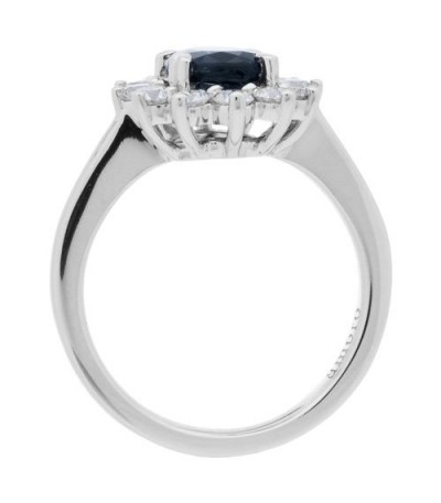 2.25 Carat Oval Cut Sapphire and Diamond Engagement Ring 18Kt White Gold