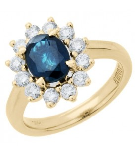 Rings - 2.25 Carat Oval Cut Sapphire and Diamond Ring 18Kt Yellow Gold