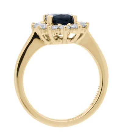 2.25 Carat Oval Cut Sapphire and Diamond Ring 18Kt Yellow Gold