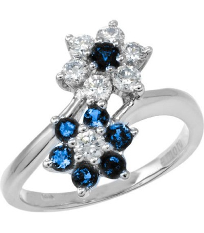 Rings - 1.19 Carat Round Cut Sapphire and Diamond Ring 18Kt White Gold
