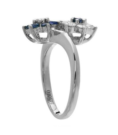 1.19 Carat Round Cut Sapphire and Diamond Ring 18Kt White Gold