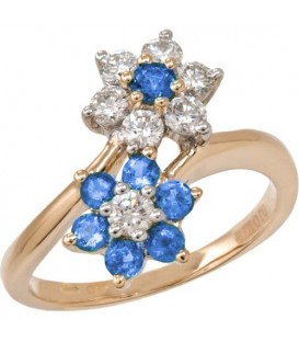 Rings - 1.19 Carat Round Cut Sapphire and Diamond Ring 18Kt Yellow Gold