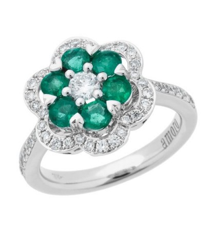 Rings - 1.33 Carat Round Cut Emerald and Diamond Ring 18Kt White Gold