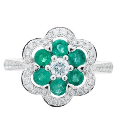 1.33 Carat Round Cut Emerald and Diamond Ring 18Kt White Gold