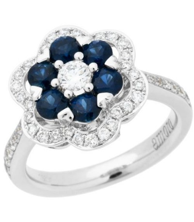 Rings - 1.63 Carat Round Cut Sapphire and Diamond Ring 18Kt White Gold