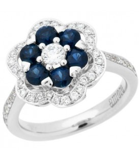 More about 1.63 Carat Round Cut Sapphire and Diamond Ring 18Kt White Gold