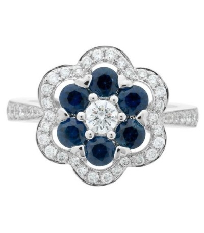 1.63 Carat Round Cut Sapphire and Diamond Ring 18Kt White Gold