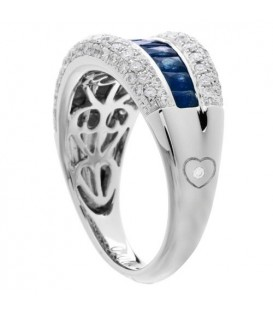 1.94 Carat Baguette Cut Sapphire and Diamond Ring 18Kt White Gold