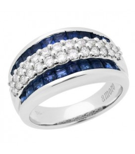 Rings - 2.63 Carat Baguette Cut Sapphire and Diamond Ring 18Kt White Gold