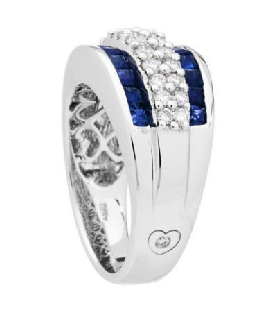 2.63 Carat Baguette Cut Sapphire and Diamond Ring 18Kt White Gold