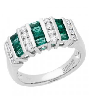 Rings - 0.98 Carat Baguette Cut Emerald and Diamond Ring 18Kt White Gold