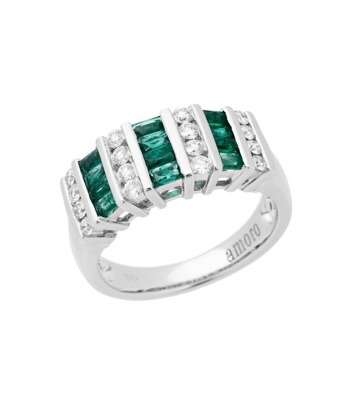 Baguette Cut 0 98ct Emerald And Diamond Ring 18kt White