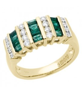 Rings - 0.98 Carat Baguette Cut Emerald and Diamond Ring 18Kt Yellow Gold