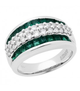 Rings - 1.85 Carat Baguette Cut Emerald and Diamond Ring 18Kt White Gold