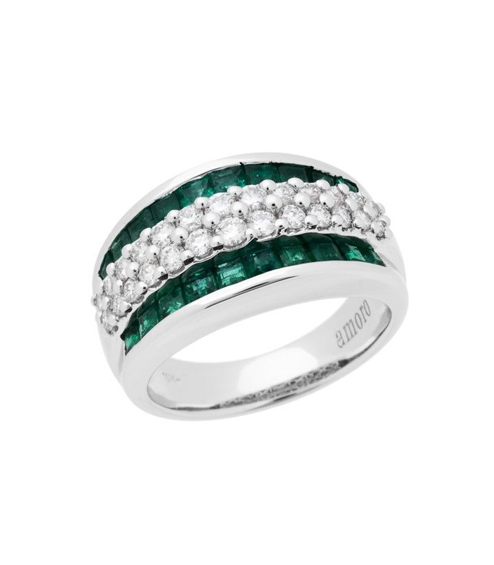 Baguette Cut 1 85ct Emerald And Diamond Ring 18kt White