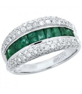 Rings - 1.59 Carat Baguette Cut Emerald and Diamond Ring 18Kt White Gold