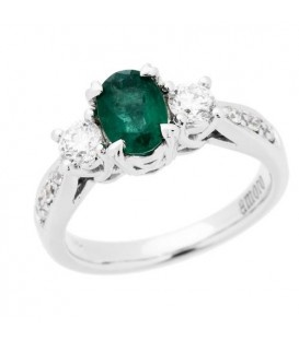 Rings - 1.30 Carat Oval Cut Emerald and Diamond Ring 18Kt White Gold
