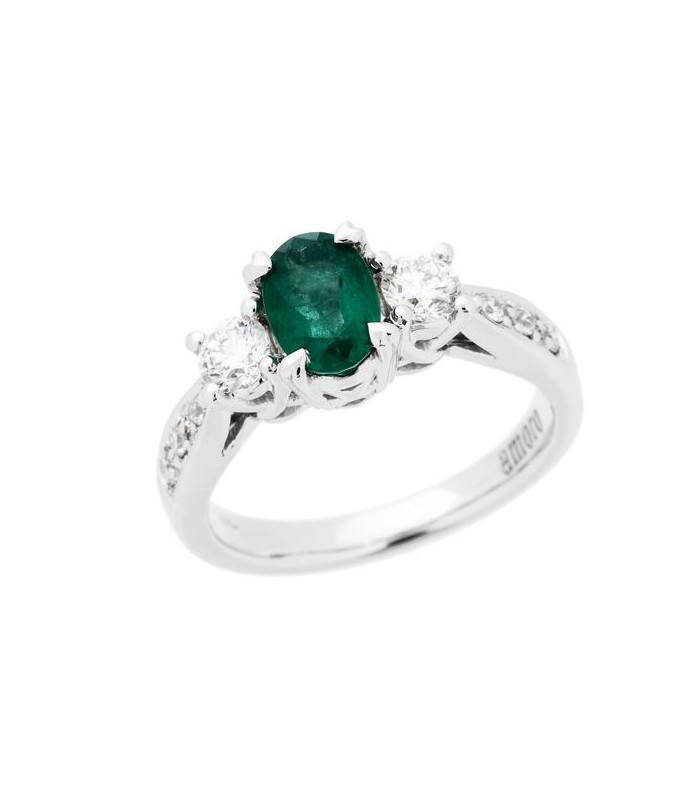 Oval Cut 1 30ct Emerald And Diamond Ring 18kt White Gold