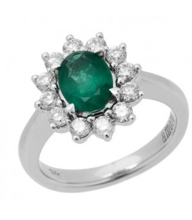 Rings - 1.68 Carat Oval Cut Emerald and Diamond Ring 18Kt White Gold