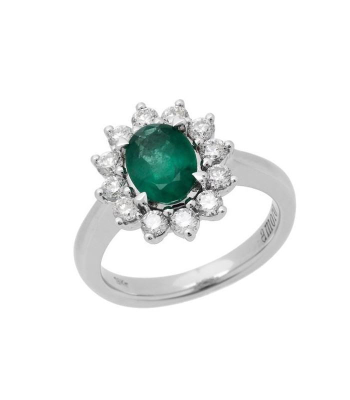 Oval Cut 1 68ct Emerald And Diamond Ring 18kt White Amoro
