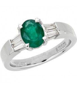 Rings - 1.53 Carat Oval Cut Emerald and Diamond Ring 18Kt White Gold