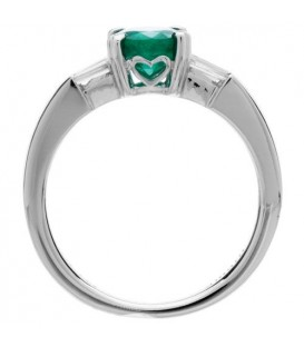 1.53 Carat Oval Cut Emerald and Diamond Ring 18Kt White Gold