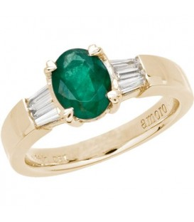 Rings - 1.44 Carat Oval Cut Colombian Emerald and Diamond Ring 18Kt Yellow Gold