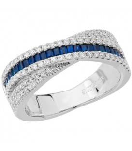 Rings - 1.04 Carat Baguette Cut Sapphire and Diamond Ring 18Kt White Gold