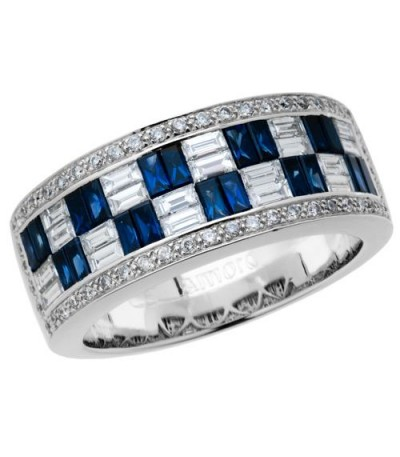 Rings - 1.75 Carat Baguette Cut Sapphire and Diamond Ring 18Kt White Gold