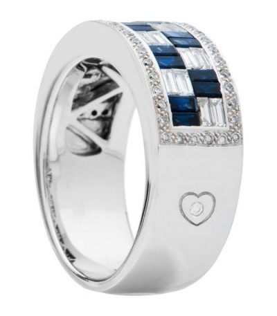 1.75 Carat Baguette Cut Sapphire and Diamond Ring 18Kt White Gold