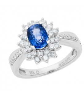 Rings - 1.60 Carat Oval Cut Sapphire and Diamond Ring 18Kt White Gold