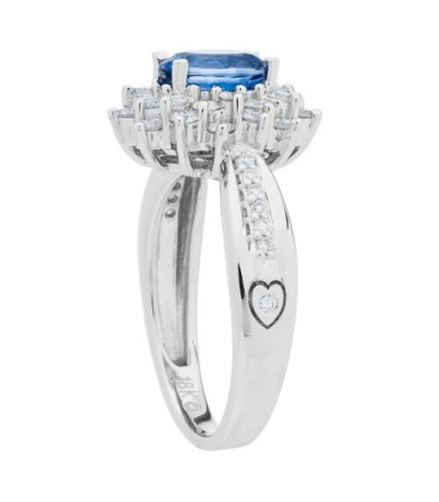 1.60 Carat Oval Cut Sapphire and Diamond Ring 18Kt White Gold