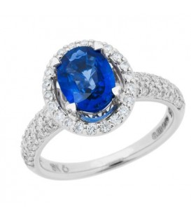 Rings - 1.84 Carat Oval Cut Sapphire and Diamond Ring 18Kt White Gold