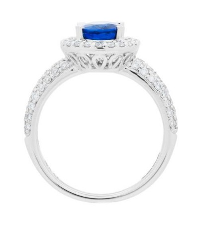 1.84 Carat Oval Cut Sapphire and Diamond Ring 18Kt White Gold