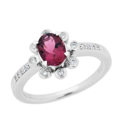 Rings - 0.71 Carat Oval Cut Pink Tourmaline Diamond Ring 14Kt White Gold