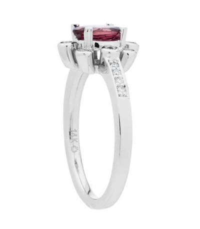 0.83 Carat Oval Cut Pink Tourmaline Diamond Ring 14Kt White Gold