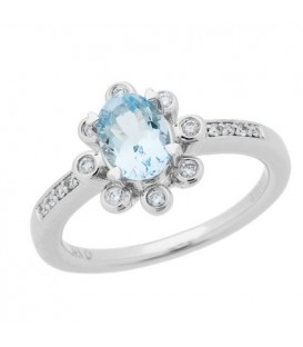 Rings - 0.85 Carat Oval Cut Aquamarine and Diamond Ring 14Kt White Gold