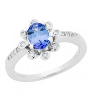 Rings - 1.08 Carat Oval Cut Tanzanite and Diamond Ring 14Kt White Gold