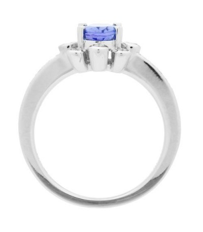 1.08 Carat Oval Cut Tanzanite and Diamond Ring 14Kt White Gold