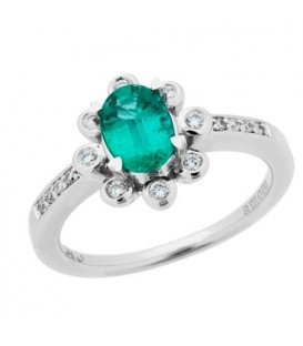 More about 0.85 Carat Oval Cut Emerald and Diamond Ring 14Kt White Gold