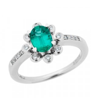 Rings - 0.85 Carat Oval Cut Emerald and Diamond Ring 14Kt White Gold